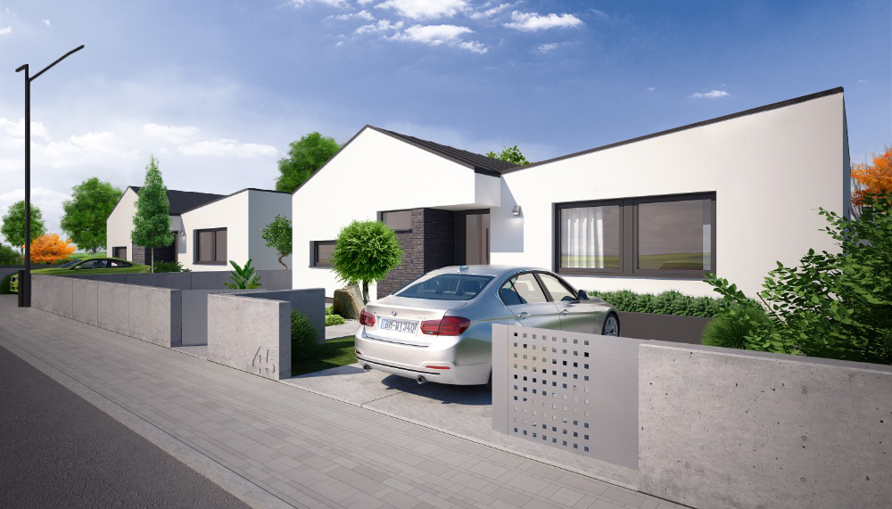 5-izbový rodinný dom v Zálesí - vizualizácia vstup z ulice